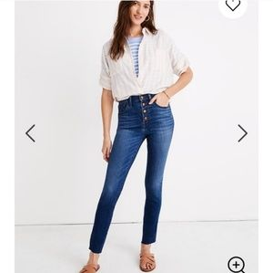 """NWT Madewell 10"""" High Waist Button Front Jeans"""